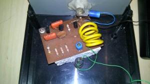 Aspecto do circuito do transmissor já na placa de CI que projetei