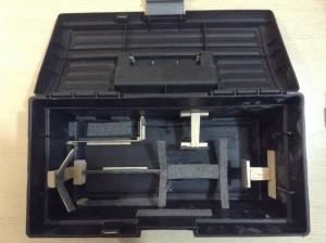 Detalhe dos compatimentos da maleta