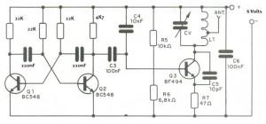 Circuito transmissor controle remoto monocanal